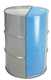 blue tinted round bottom poly drum liner