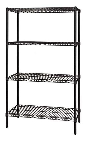 "86""Black Wire Shelving - 4- Shelves Starter Unit"
