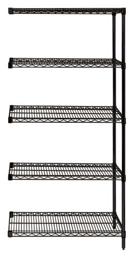 "86"" Black Wire Shelving - 5 Shelves Starter Unit"